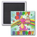 Cumpleaños lindo del dinosaurio de los niños iman