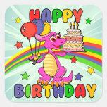 Cumpleaños lindo del dinosaurio de los niños calcomanías cuadradass personalizadas