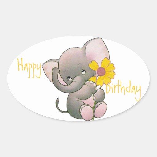 Cumpleaños lindo del elefante pegatina ovalada