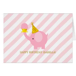Cumpleaños lindo del elefante rosado tarjeta de felicitación