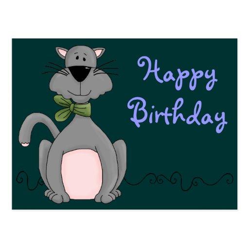 Cumpleaños lindo del gato postales
