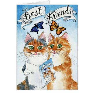 Cumpleaños lindo del mejor amigo del gato o tarjeta de felicitación