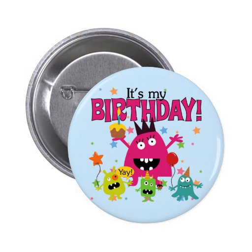 Cumpleaños lindo del monstruo de los niños pins