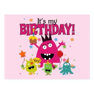 Cumpleaños lindo del monstruo de los niños postal