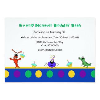 """Cumpleaños lindo del niño de Cajun del monstruo Invitación 5"""" X 7"""""""