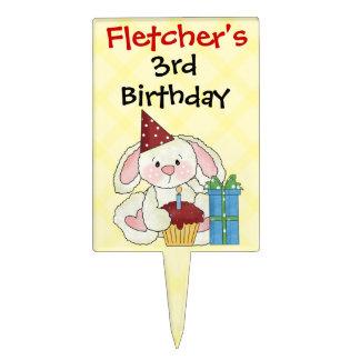 Cumpleaños lindo del personalizado del conejito decoración para tarta