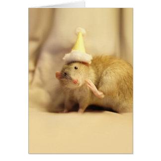 Cumpleaños lindo del ratón del gorra del fiesta tarjetón