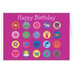 Cumpleaños lindo del rosa de la materia de los ico tarjeta
