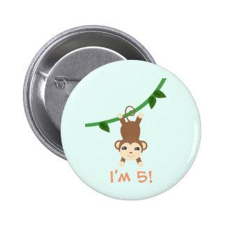 Cumpleaños lindo del safari pin redondo de 2 pulgadas