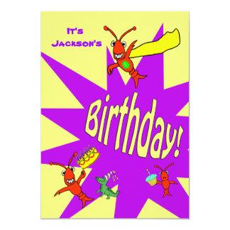 Cumpleaños lindo del super héroe del Critter de Invitación 12,7 X 17,8 Cm