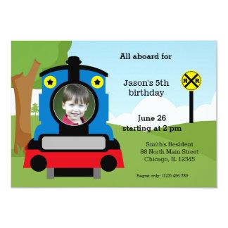 Cumpleaños lindo del tren invitación 12,7 x 17,8 cm
