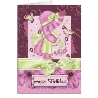 Cumpleaños lindo Gre de la flor y de la mariposa d Felicitación