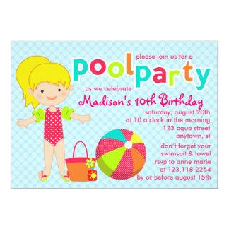 Cumpleaños lindo moderno de los chicas de fiesta invitación 12,7 x 17,8 cm