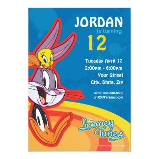 """Cumpleaños Looney de la demostración de los tonos Invitación 5"""" X 7"""""""