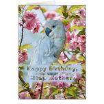Cumpleaños, madre del paso, loro blanco en el cang tarjetón