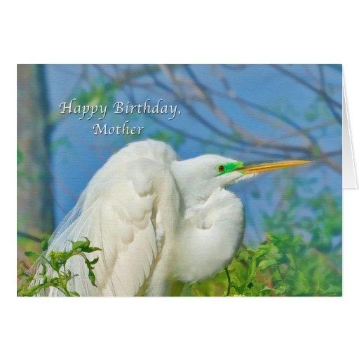 Cumpleaños, madre, gran pájaro del Egret Tarjeta De Felicitación