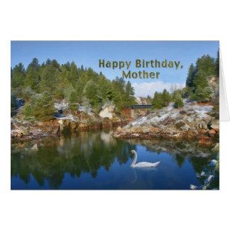 Cumpleaños, madre, lago mountain, cisne, tarjeta