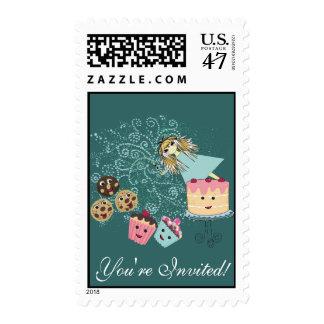 Cumpleaños mágico de la invitación de los días del timbres postales