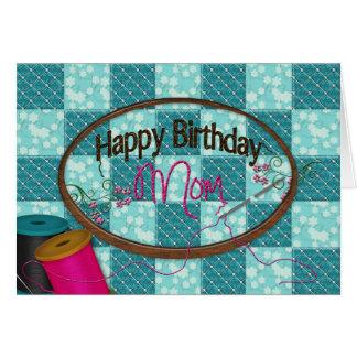 Cumpleaños - mamá - bordado felicitacion
