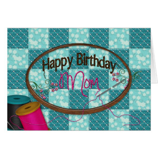 Cumpleaños - mamá - bordado tarjeta de felicitación