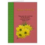 Cumpleaños, margaritas amarillas, religiosas felicitacion