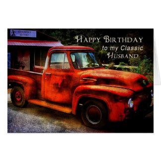 Cumpleaños - marido - camión clásico tarjeta de felicitación