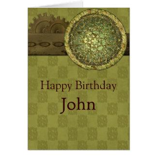 Cumpleaños masculino con acero y engranajes tarjeta de felicitación
