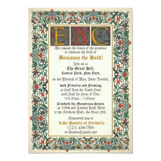 """Cumpleaños medieval del manuscrito con iniciales invitación 5"""" x 7"""""""