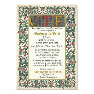 """Cumpleaños medieval del manuscrito invitación 5"""" x 7"""""""
