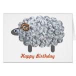 Cumpleaños mullido de las ovejas tarjetón