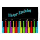 Cumpleaños - Musical - teclado colorido Tarjetón