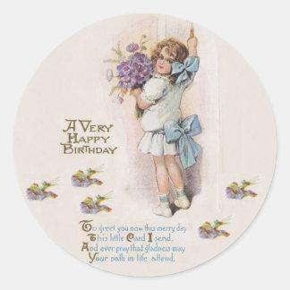 Cumpleaños muy feliz de la antigüedad pegatina redonda