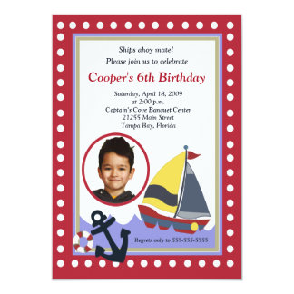 """Cumpleaños náutico 5x7 de la FOTO del barco del Invitación 5"""" X 7"""""""