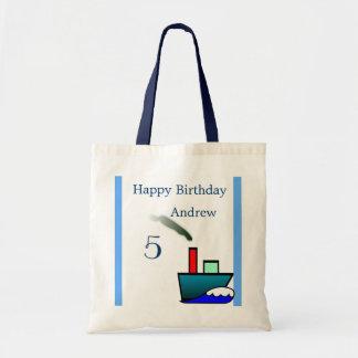 Cumpleaños náutico de la nave de Litte Bolsa Tela Barata
