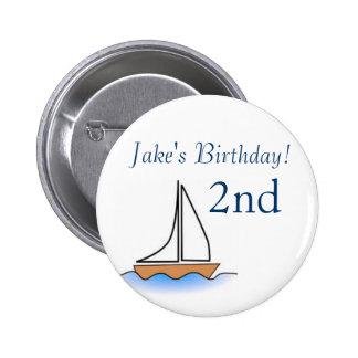 Cumpleaños náutico del velero de Litte Pin Redondo 5 Cm