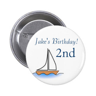 Cumpleaños náutico del velero de Litte Pin Redondo De 2 Pulgadas