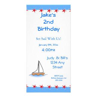 Cumpleaños náutico del velero de Litte Tarjeta Fotografica