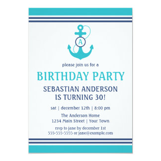 Cumpleaños náutico invitación 12,7 x 17,8 cm