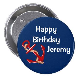 Cumpleaños náutico personalizado pin redondo de 3 pulgadas