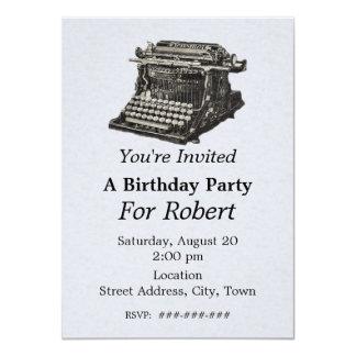"""Cumpleaños negro antiguo de la máquina de escribir invitación 4.5"""" x 6.25"""""""