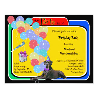 """Cumpleaños negro Barker de great dane Invitación 4.25"""" X 5.5"""""""