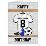Cumpleaños negro blanco del jersey de fútbol del tarjeta