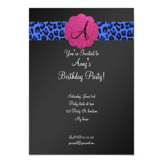 Cumpleaños negro del monograma invitaciones personalizada