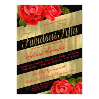 """Cumpleaños negro del rosa rojo del oro 50.o invitación 5.5"""" x 7.5"""""""