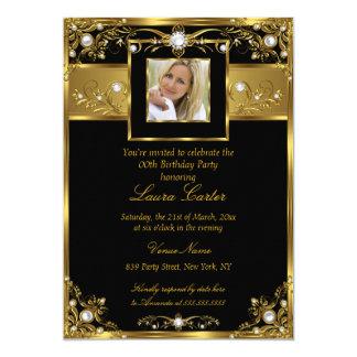 """Cumpleaños negro elegante de la foto de la perla invitación 5"""" x 7"""""""