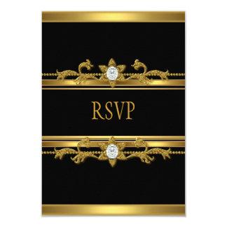 """Cumpleaños negro elegante de la joya del diamante invitación 3.5"""" x 5"""""""