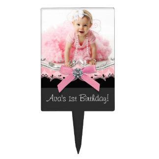Cumpleaños negro rosado de la niña decoraciones para tartas