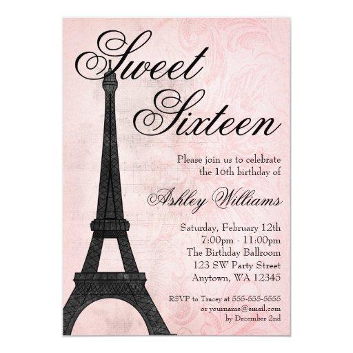 Cumpleaños negro rosado del dulce 16 de París del Invitación 12,7 X 17,8 Cm