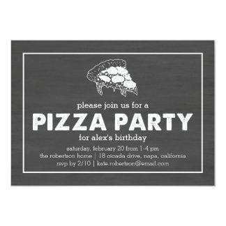 """Cumpleaños negro y blanco del fiesta de la pizza invitación 5"""" x 7"""""""