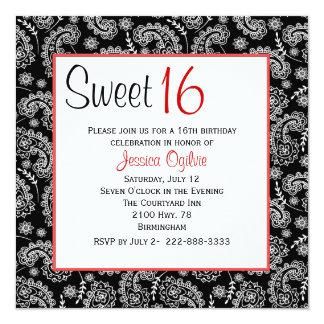 Cumpleaños negro y blanco elegante del dulce 16 de invitación 13,3 cm x 13,3cm